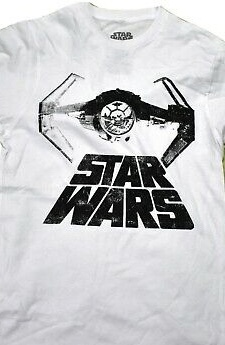 Star Wars Distressed Darth Vader TIE Fighter Official Licensed White T-Shirt XL