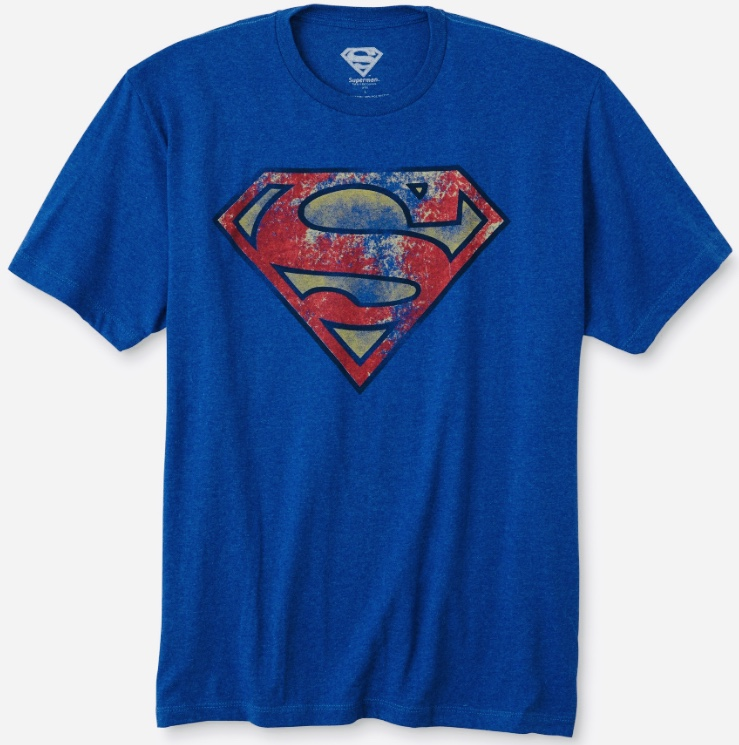 DC Comics Superman Vintage Distressed Symbol Men's Blue T-Shirt Medium