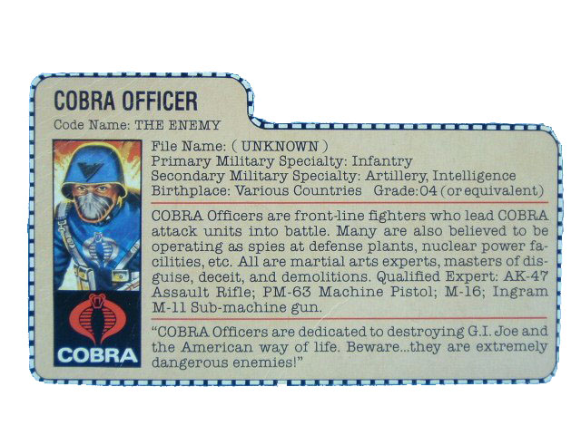 1982 GIJoe Cobra Officer THE ENEMY Filecard