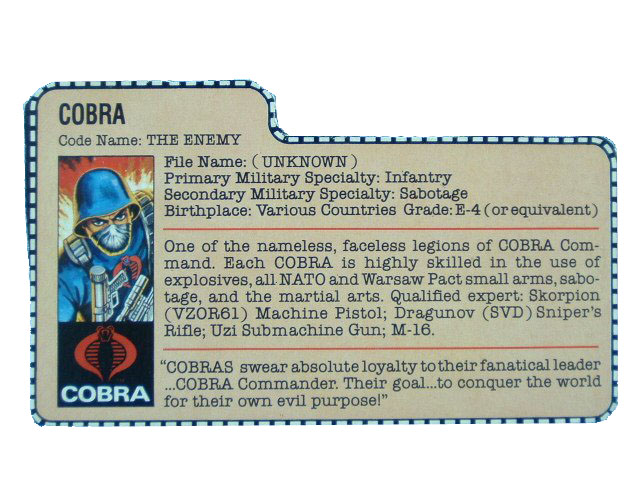 1982 GIJoe Cobra Soldier THE ENEMY Filecard