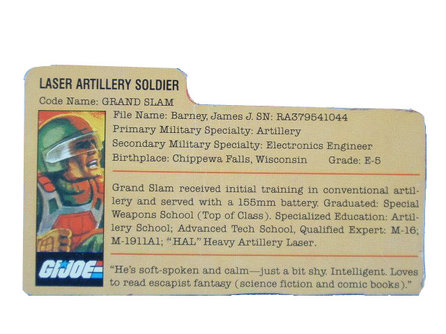 1982 GIJoe Grand Slam LASER ARTILLERY SOLDIER Filecard