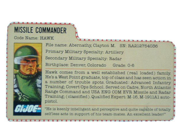1982 GIJoe Hawk ARTILLERY COMMANDER Filecard