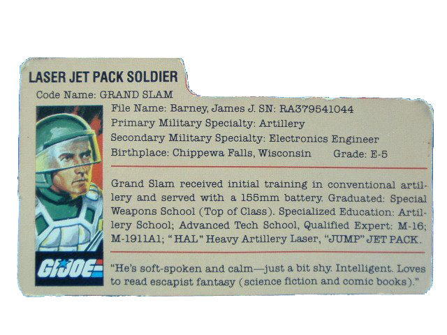 1983 GIJoe Grand Slam LASER ARTILLERY SOLDIER Filecard