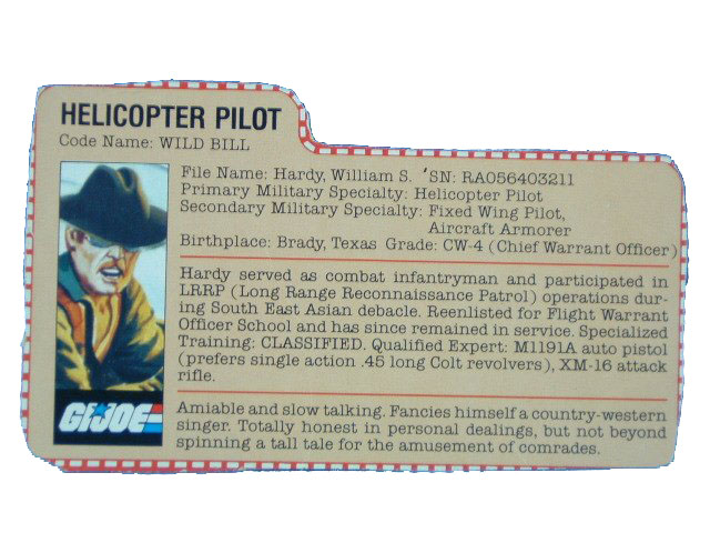 1983 GIJoe Wild Bill HELICOPTER PILOT Filecard
