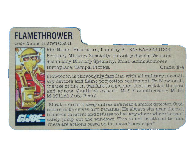 1984 GIJoe Blowtorch FLAMETHROWER Filecard