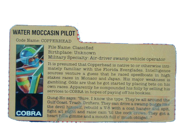 1984 GIJoe Cobra Copperhead COBRA WATER MOCCASIN PILOT Filecard