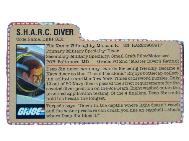 1984 GIJoe Deep Six S.H.A.R.C. DIVER Filecard