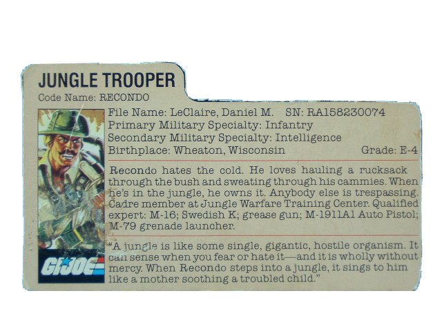 1984 GIJoe Recondo JUNGLE TROOPER Filecard