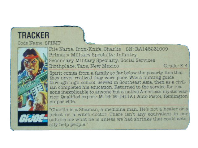 1984 GIJoe Spirit TRACKER Filecard