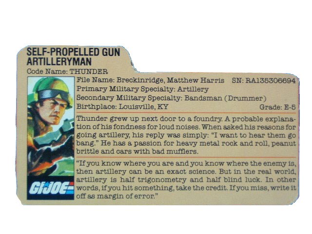 1984 GIJoe Thunder SELF-PROPELLED GUN ARTILLERYMAN Filecard