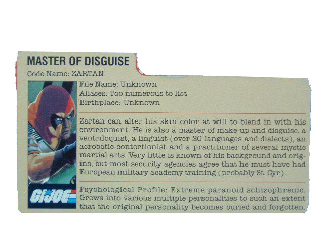 1984 GIJoe Cobra Zartan MASTER OF DESGUISE Filecard
