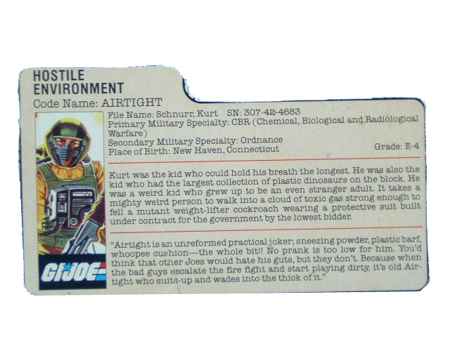 1985 GIJoe Airtight HOSTILE ENVIRONMENT Filecard