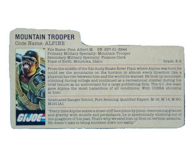 1985 GIJoe Alpine MOUNTAIN TROOPER Filecard