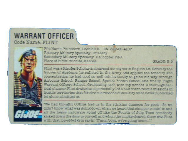 1985 GIJoe Flint WARRANT OFFICER Filecard