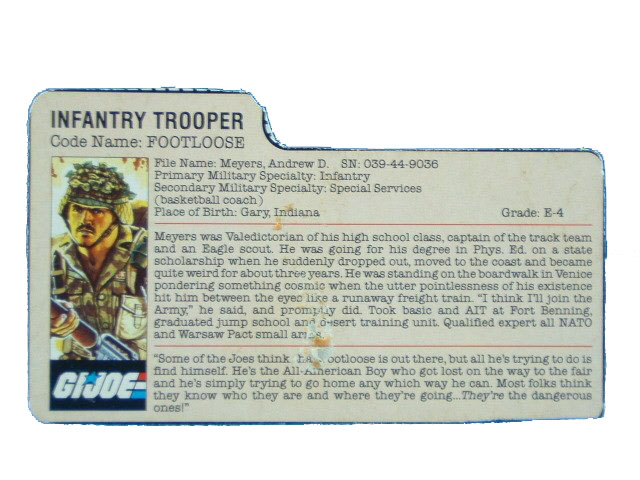 1985 GIJoe Footloose INFANTRY TROOPER Filecard
