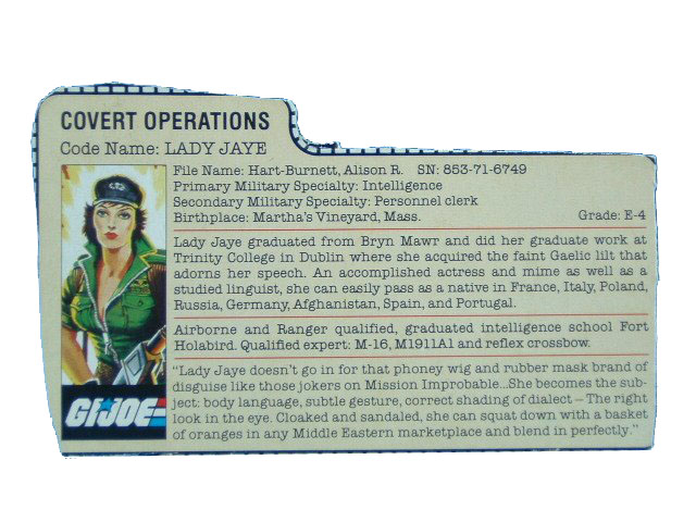 1985 GIJoe Lady Jaye COVERT OPERATIONS Filecard