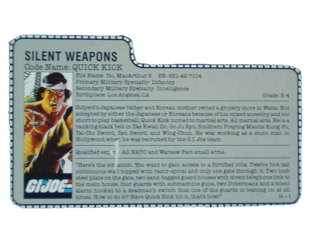 1985 GIJoe Quick Kick SILENT WEAPONS Filecard