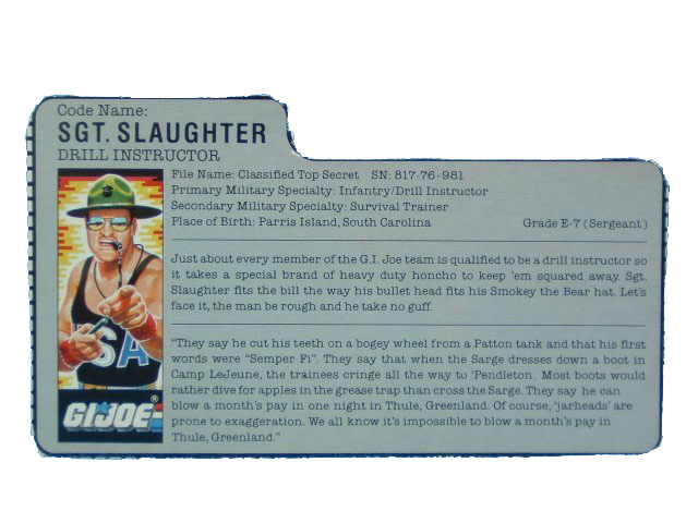 1985 GIJoe Sgt.Slaughter DRILL INSTRUCTOR Filecard
