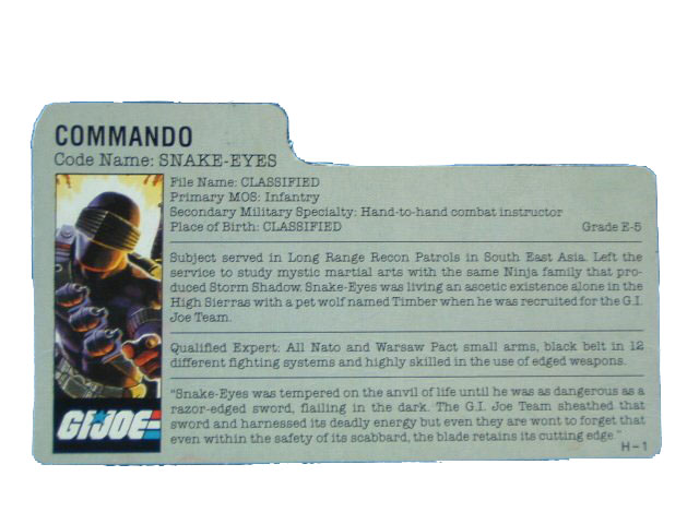 1985 GIJoe Snake Eyes COMMANDO Filecard
