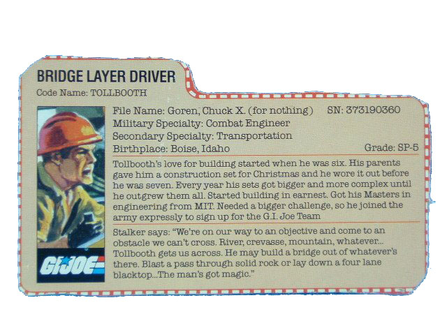 1985 GIJoe Tollbooth BRIDGE LAYER DRIVER Filecard