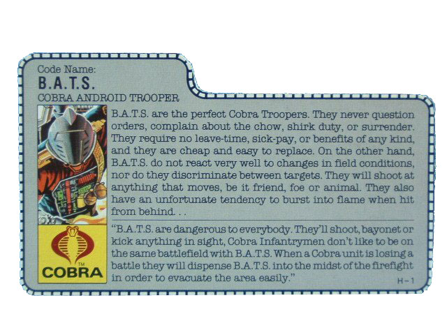 1986 GIJoe Cobra B.A.T. COBRA ANDROID TROOPER Filecard