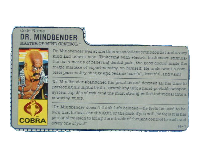 1986 GIJoe Cobra Dr. Mindbender MASTER OF MIND CONTROL Filecard