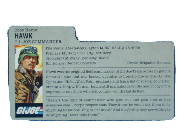 1986 GIJoe Hawk G.I.JOE COMMANDER Filecard