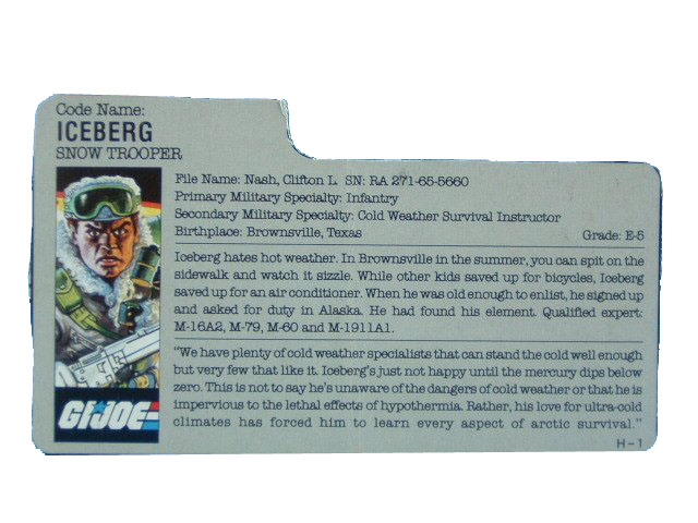 1986 GIJoe Iceberg SNOW TROOPER Filecard