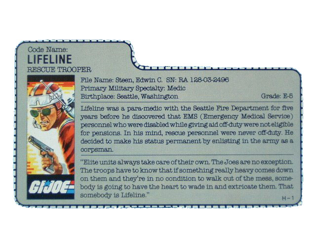 1986 GIJoe Lifeline RESCUE TROOPER Filecard