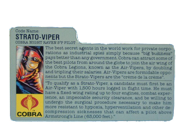 1986 GIJoe Cobra Strato-Viper COBRA NIGHT RAVEN PILOT Filecard