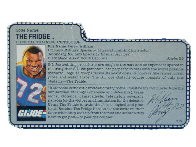 1986 GIJoe The Fridge PHYSICAL TRAINING INSTRUCTOR Filecard