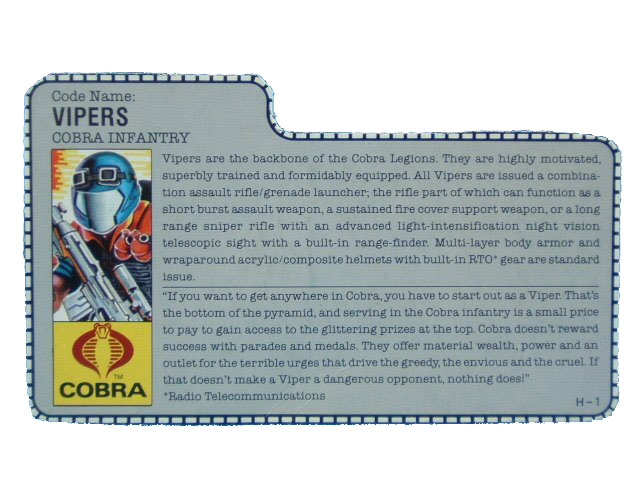 1986 GIJoe Cobra Viper COBRA INFANTRY Filecard