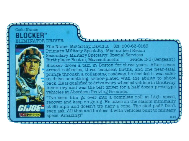 1987 GIJoe Blocker ELIMINATOR DRIVER Filecard