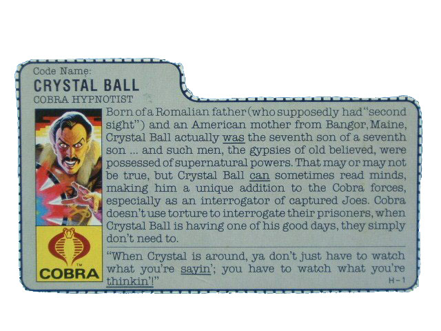 1987 GIJoe Cobra Crystal Ball COBRA HYPNOTIST Filecard