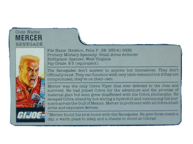 1987 GIJoe Mercer RENEGADE Filecard