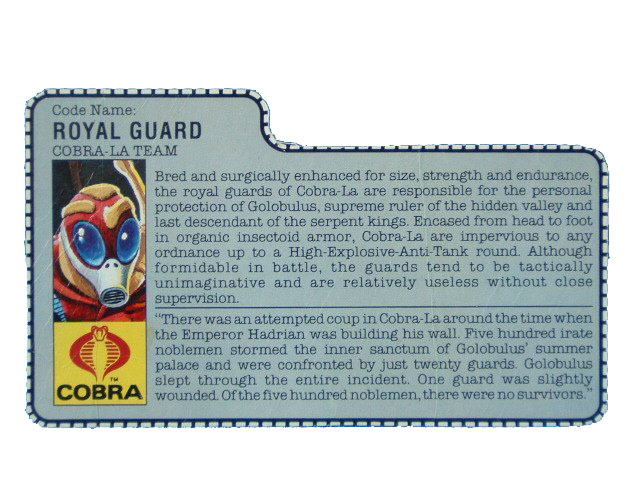 1987 GIJoe Cobra Royal Guard COBRA-LA TEAM Filecard