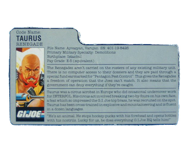 1987 GIJoe Taurus RENEGADE Filecard
