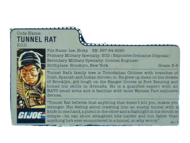 1987 GIJoe Tunnel Rat E.O.D Filecard