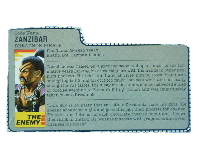 1987 GIJoe Cobra Zanzibar DREADNOK PIRATE Filecard