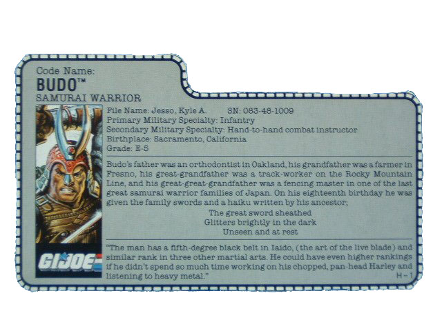 1988 GIJoe Budo SAMURAI WARRIOR Filecard