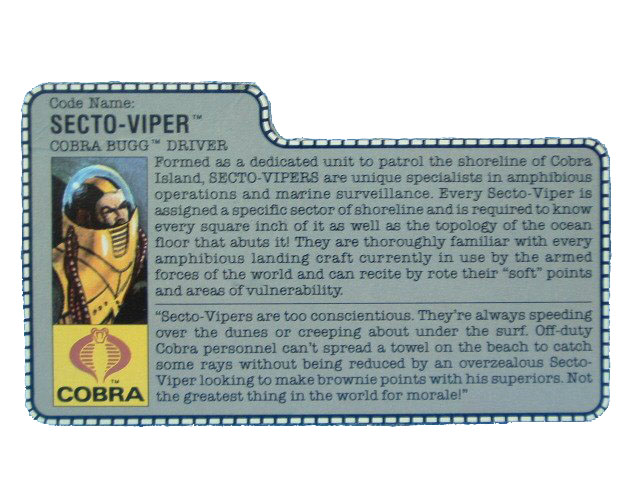 1988 GIJoe Cobra Secto-Viper COBRA BUGG DRIVER Filecard