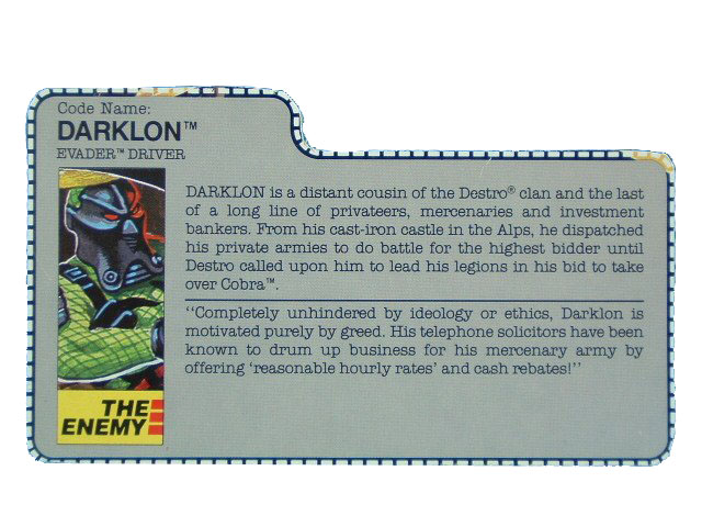 1989 GIJoe Cobra Darklon EVADER DRIVER Filecard