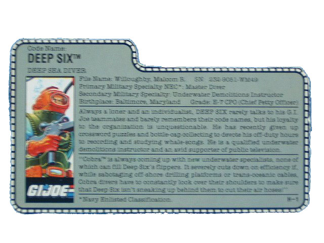 1989 GIJoe Deep Six DEEP SEA DIVER Filecard