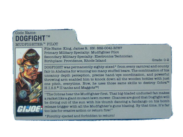 1989 GIJoe Dogfight MUDFIGHTER PILOT Filecard