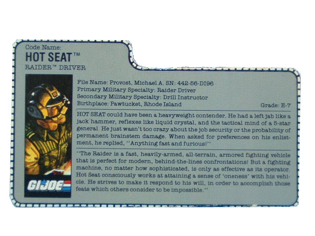 1989 GIJoe Hot Seat RAIDER DRIVER Filecard