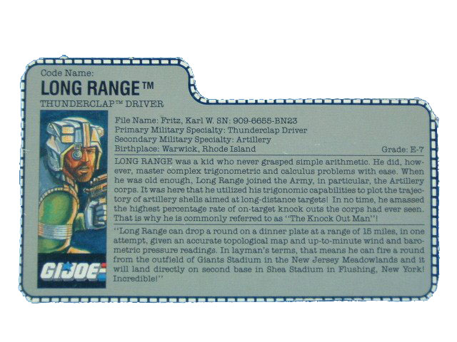 1989 GIJoe Long Range THUNDERCLAP DRIVER Filecard