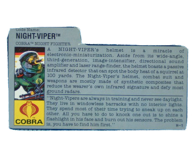 1989 GIJoe Cobra Night-Viper COBRA NIGHT FIGHTER Filecard