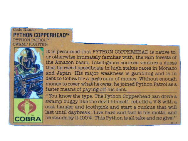 1989 GIJoe Cobra Copperhead PYTHON PATROL SWAMP FIGHTER Filecard