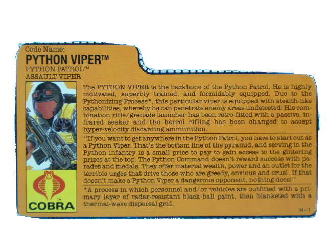 1989 GIJoe Cobra Viper PYTHON PATROL ASSAULT TROOPER Filecard