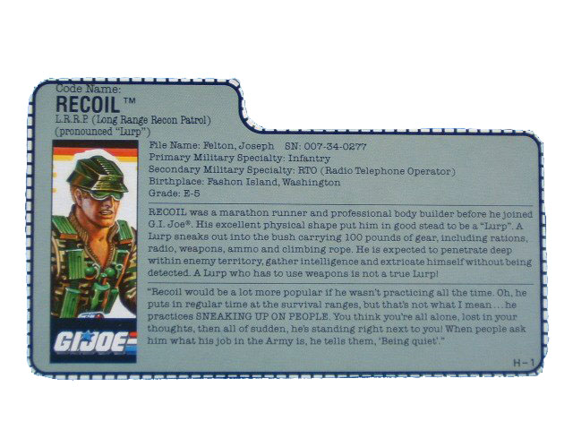 1989 GIJoe Recoil LONG RANGE RECON PATROL Filecard